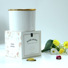 classic gold cover white glass candle jar scented candle