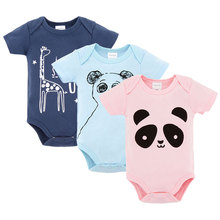 Cute Factory Baby Clothes Summer 100%Cotton Short Sleeves with Animal Prints Newborn Infant Baby Bodysuits