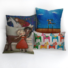 Fancy cartoon horse pillow cover custom personlized cushion