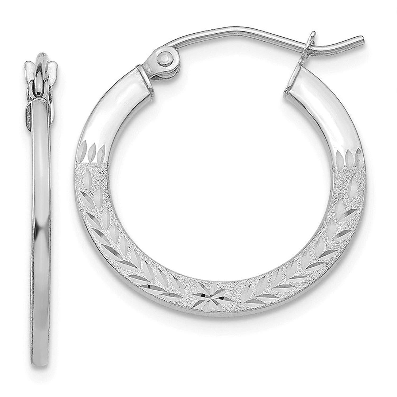 Mia Diamonds 14K White Gold Diamond-Cut 1.2x20mm Hoop Earrings