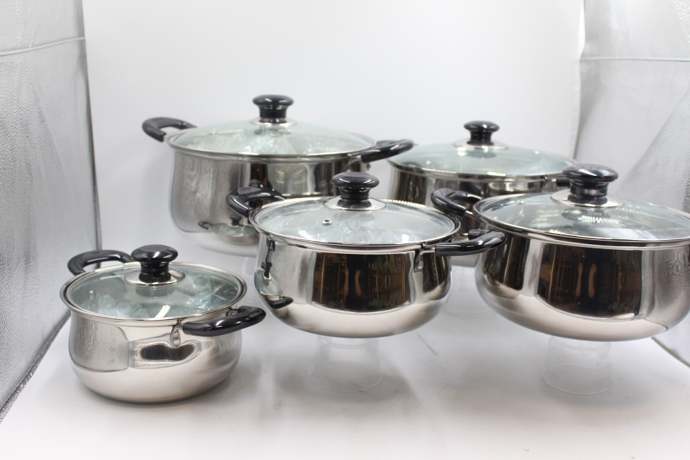 Stainless Steel Cooking Casserole Pot Set High Quality Palm Restaurant Cookware