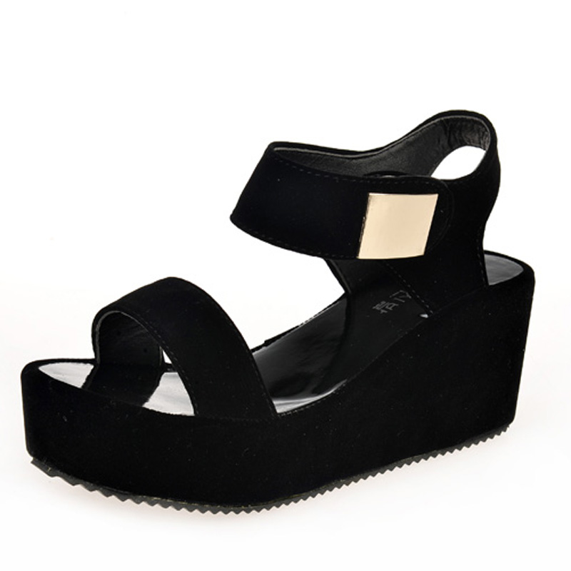 83b2c8842585 cz18088a New casual ladies platform pu lightweight black wedge heel sandals  shoes women