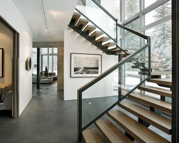 Open Riser Stairs Solid Wood Tread Single Steel Stringer