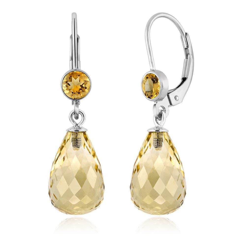 1eab452b6 Get Quotations · 925 Sterling Silver Briolette Citrine Women's Drop Earrings  10.00 Ctw Gemstone Birthstone