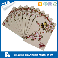 Full color wholesale custom paper craft handmade New Year greeting card set printing