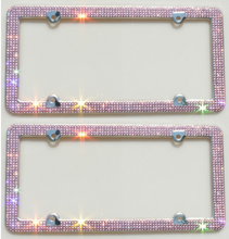 Roze luxe strass <span class=keywords><strong>plaat</strong></span> frame bijpassende schroeven Caps roze crystal
