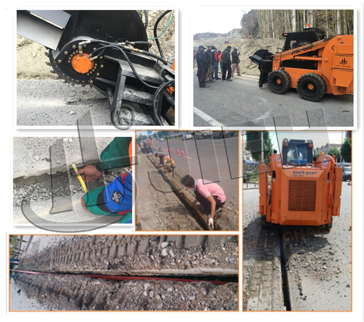 tyre tipe trench digger chain trencher for laying cable optical fiber with 500mm cutting depth JHK600