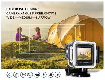 Ultra HD 4K action camara SPORTS CAM 170 degree wide Angle Sports Camera 2-inch Screen 1080p