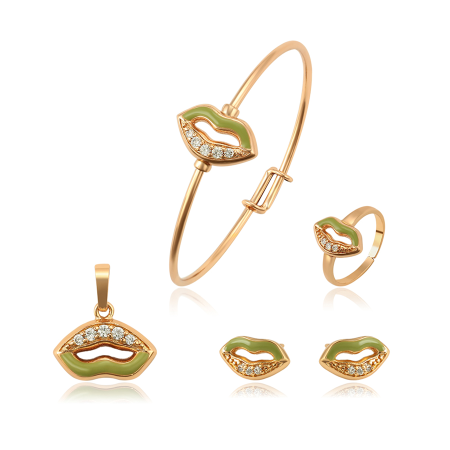 51574 xuping 18 천개 금 plated green 립 shape jewelry set in china 와 multi 합성 CZ A01