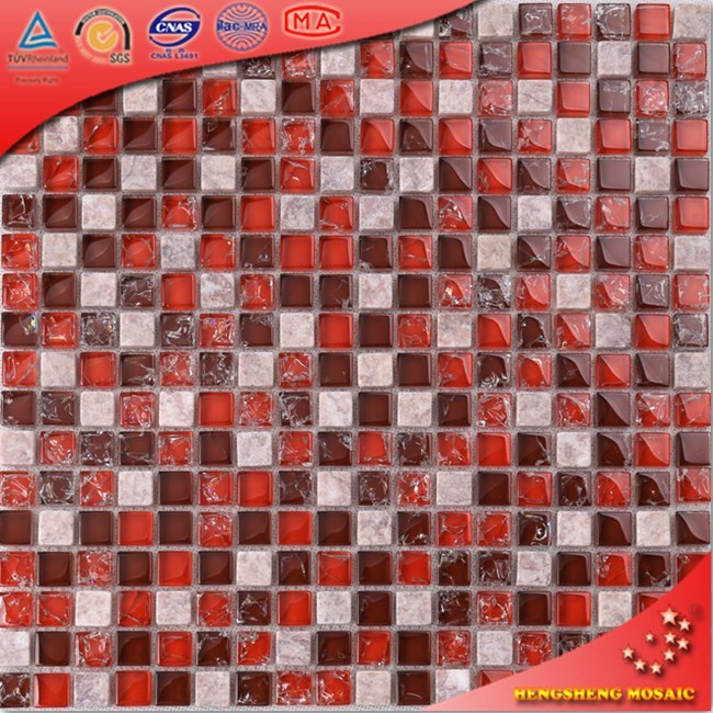 KS35 Red Crackle Glass Mixed Stone Mosaic Bathroom Wall TIles For Shower