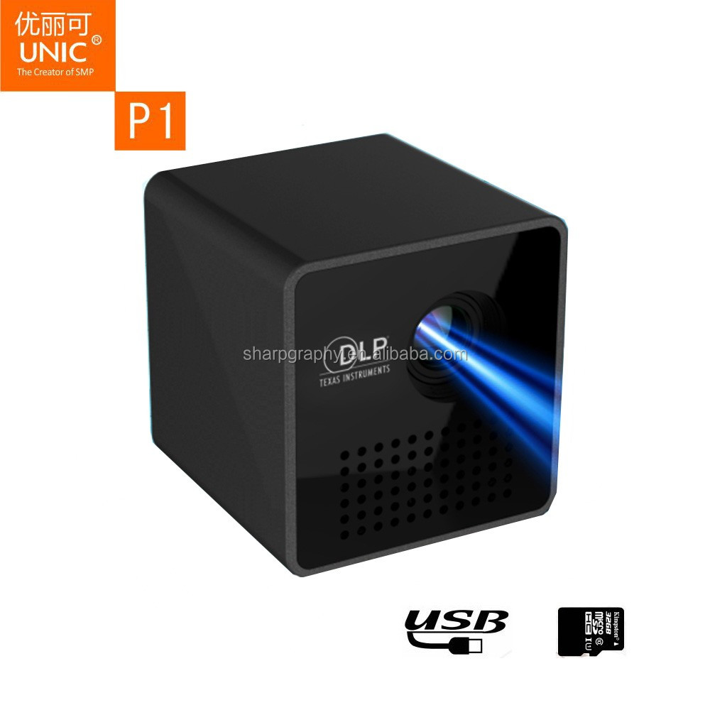 Latest UNIC Mini Pocket Full HD DLP 1080P LED P1 <strong>Projector</strong> with Battery