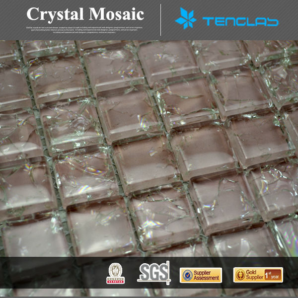 50% discount crackle pink glass mosaic tiles