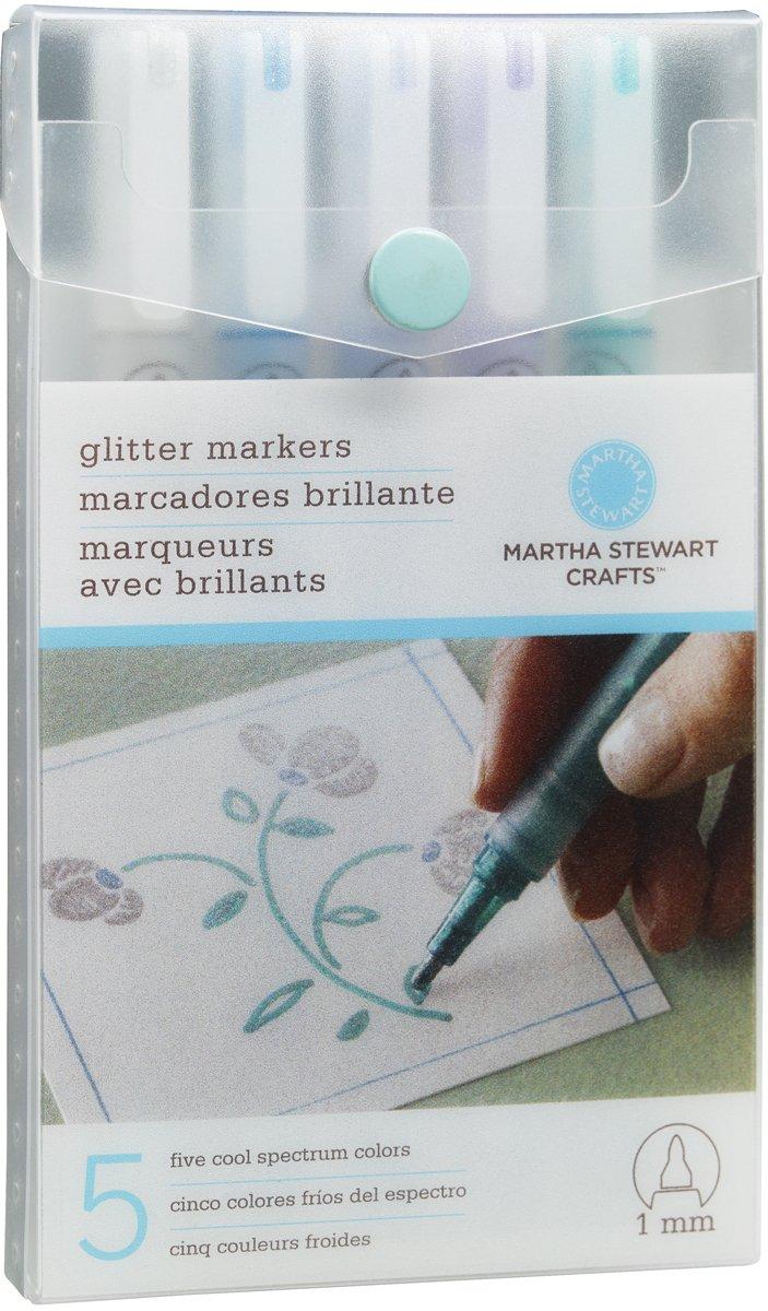 Martha Stewart Crafts Glitter Markers Set, Cool Spectrum (40-30023)