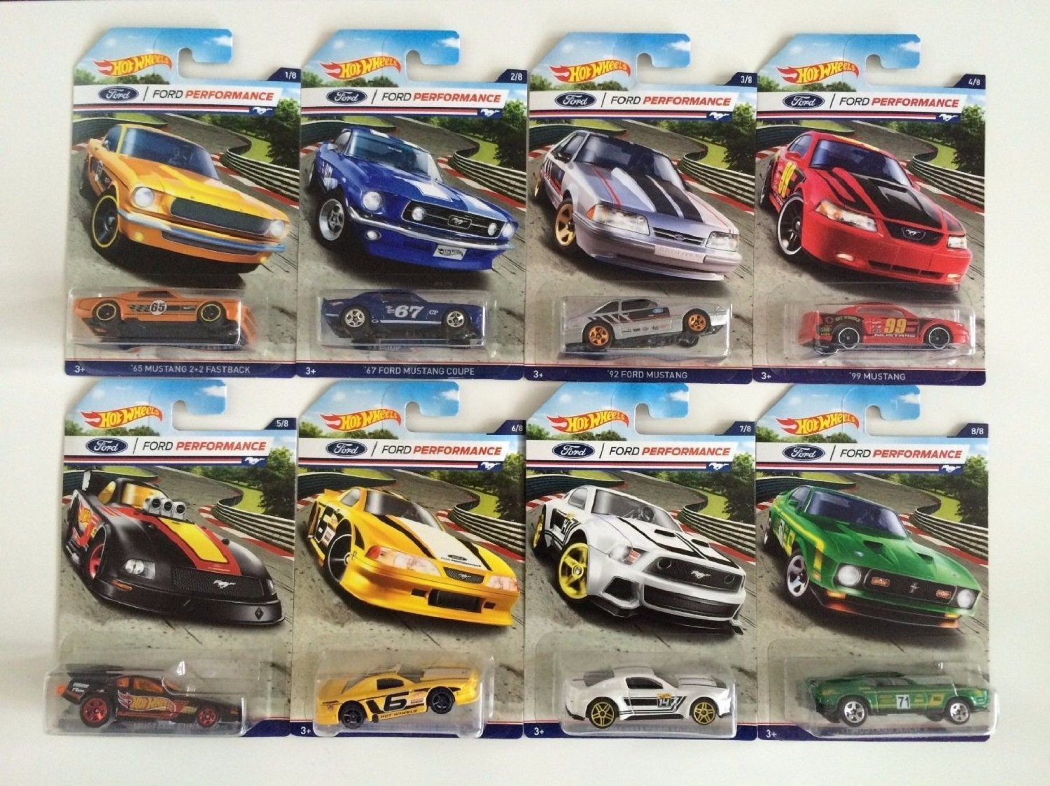 2016 Hot Wheels FORD PERFORMANCE Series of 8 Mustang Cars Walmart Exclusive