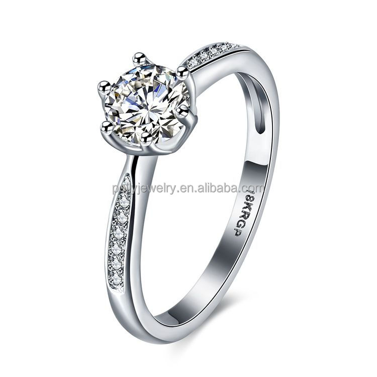 Mode 18k Or Blanc Plaqué Quatre Griffe Cristal Couple 18k RGP Zircon Bague En Diamant