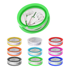 Best sell inventive OEM new design 1.2 meter cables pocket transparent ABS plastic round case mp3 smartphone earphone