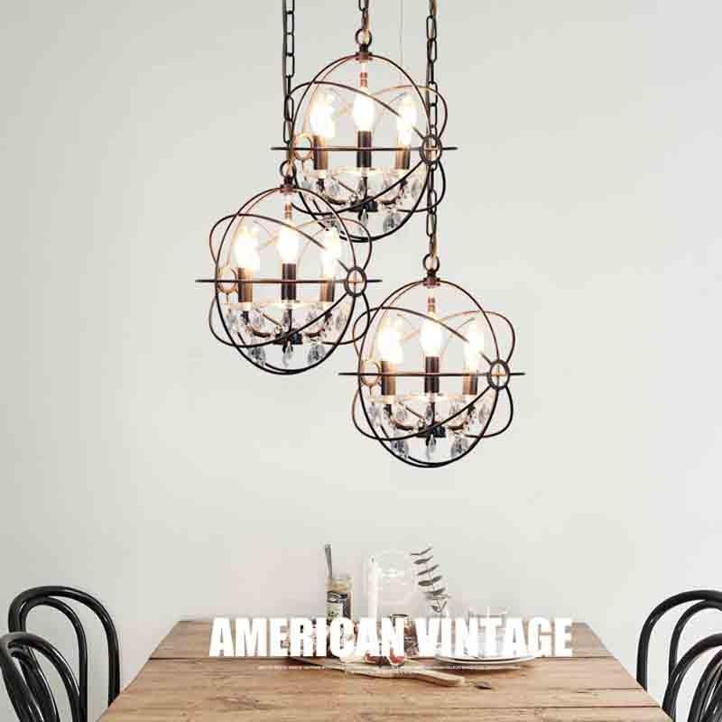 Amerikanischen Stil Eisen Esszimmer Retro Lampe Loft E27 Edison Birne  Industrielle Beleuchtung Kronleuchter Vintage Pendelleuchte