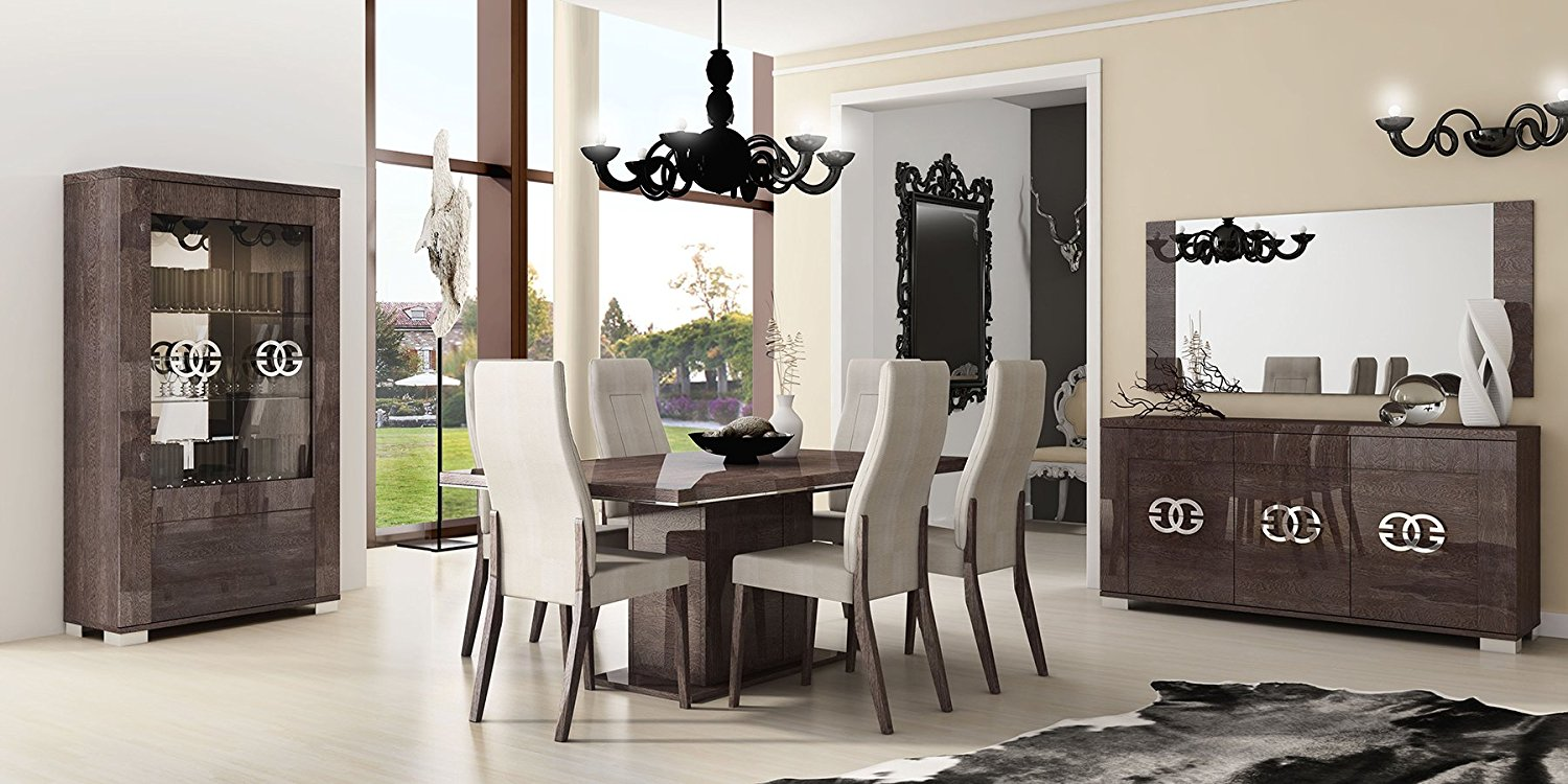 ESF Prestige High Gloss Wenge Lacquer 2-Door China Dining Room Set 8Pcs by Status Made in Italy