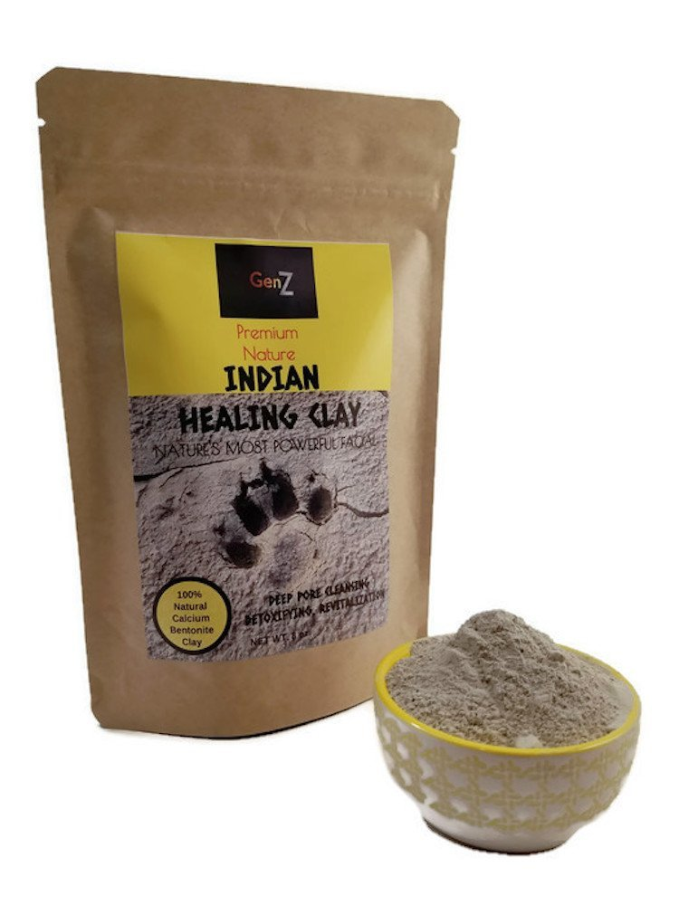 GenZ Indian Healing Clay | Natural 100% Calcium Bentonite Clay | Facial Acne Scar Removal Treatment | Hair & Face Masks for Natural Deep Pore Cleansing