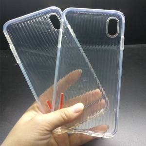 New Soft TPU Stripe Back Transparent Crystal Clear Cover Case for iPhone XS Max Mobile Shell