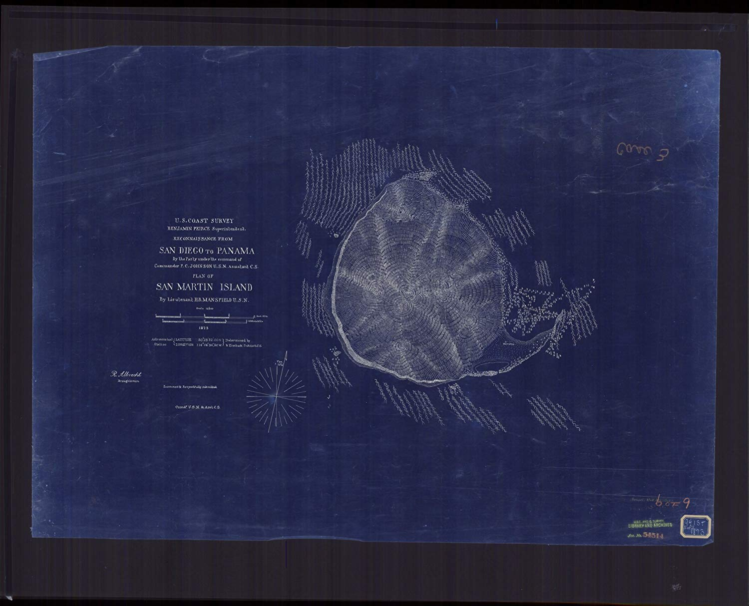 Vintography 18 x 24 Reprinted Blueprint Style Nautical Map Reconnaissance from San Diego to Panama, Plan San Martin Island 1873 NOAA 66a