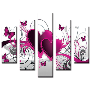 5 Panel Painting Heart Shape Hotel Wall Art Wholesale 5d Diamond Painting