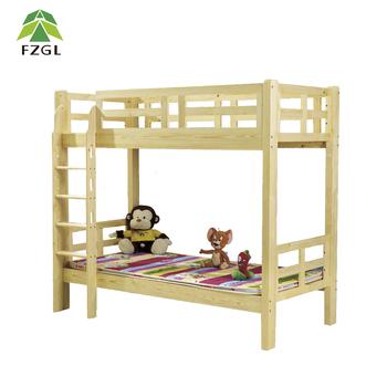 Children Pine Wood Bunk Bed Students Dormitory Wooden Bunk Beds