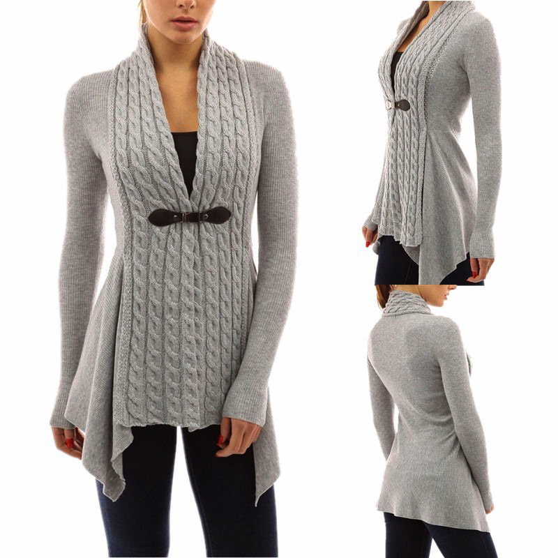 Amazon hot style lady's autumn and winter fashion cardigan