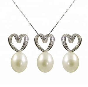 Fashion 925 silver plated heart-shaped pearl necklace stud earring jewelry set for bridal