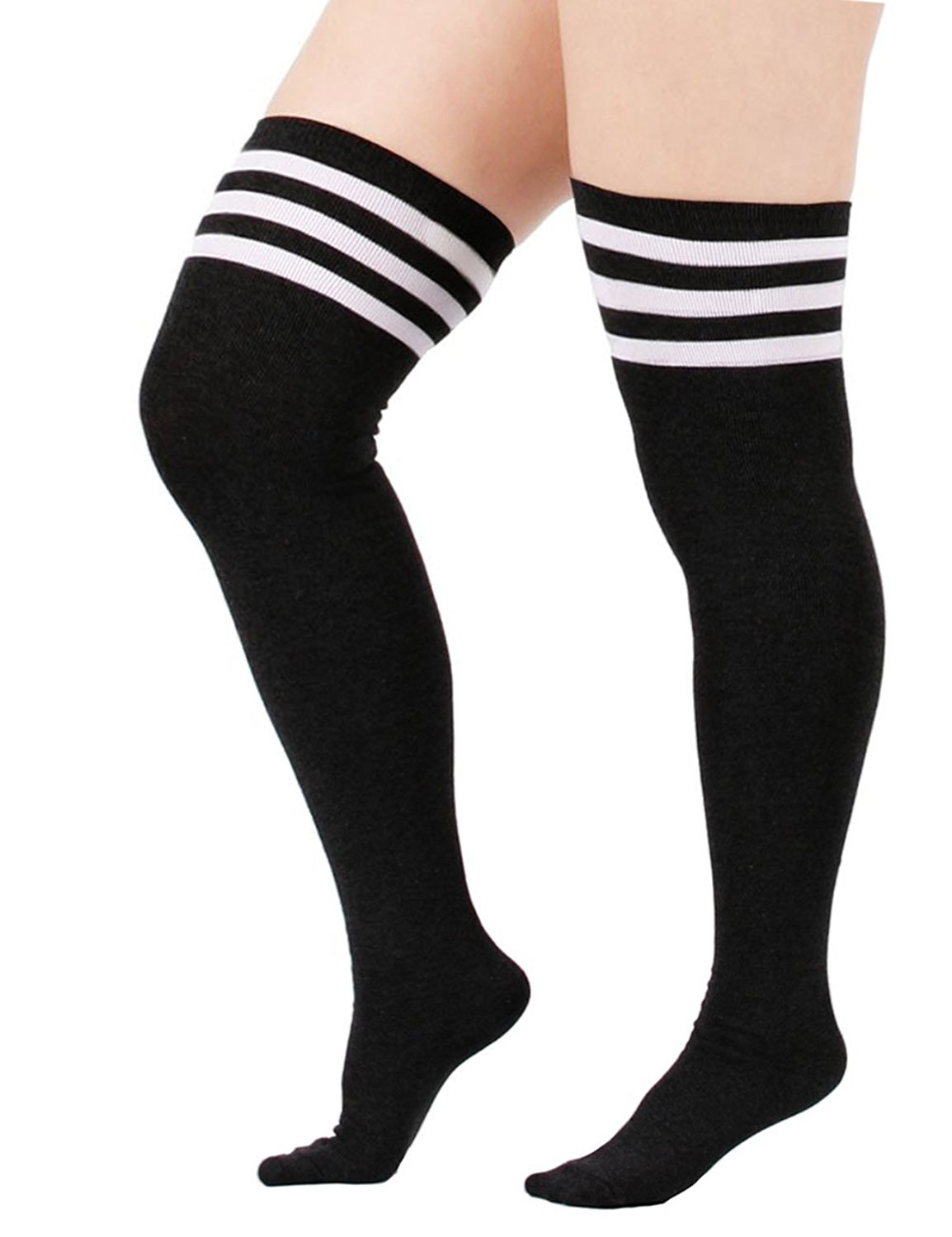66be59298a8 Get Quotations · Century Star Womens Plus Size Cute Striped Over The Knee  Long Cotton Stretchy Thigh Stockings Socks