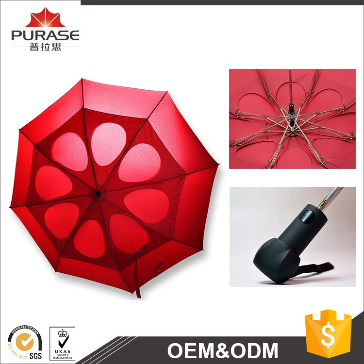 "Double layer 27"" 8K windproof 2 fold umbrella manufacture"