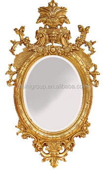 Large size european baroque style oval golden framed for Baroque oval wall mirror