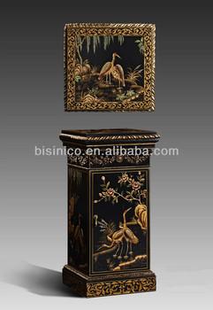 peint la main d corative int rieure colonne carr e classique bois sculpt colonne avec tiroir. Black Bedroom Furniture Sets. Home Design Ideas