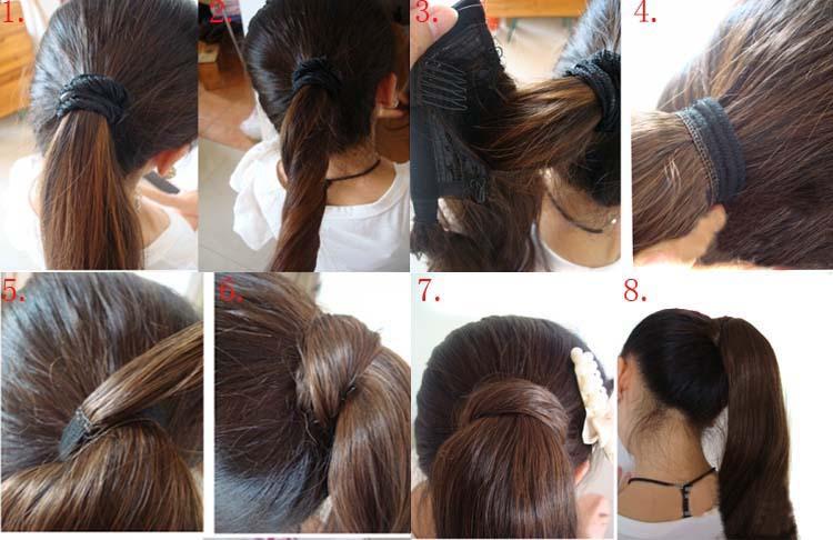 12 цветов высокое качество новый прямой синтетический обернуть вокруг хвост наращивание волос конский хвост прямая поставка Hair-0006