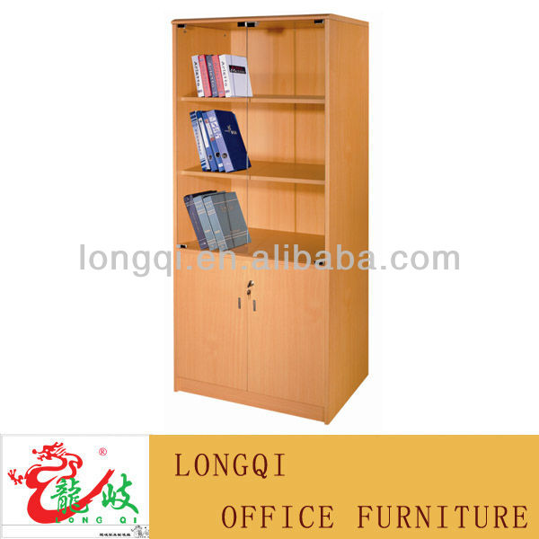 Hot Best Ing Modern Mdf 3 Shelf 2 Gl Door Wooden Lockable File Cabinet Bookcase