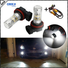 6000K Xenon White CRE'E High Power H8 H9 H11 LED Lamp Light Bulb For High Beam DRL or Fog Lights+ Error Free Canbus Decoders