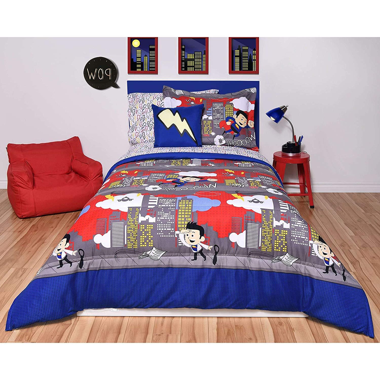 N-A 5 Piece Kids Super Hero Comic Comforter Twin Set, Blue Red Grey Boys Girls Skyline Buildings Themed Bedding, Cool Pow Wow Lightening Bolt Themed Pattern, Polyester Microfiber, Gray Yellow