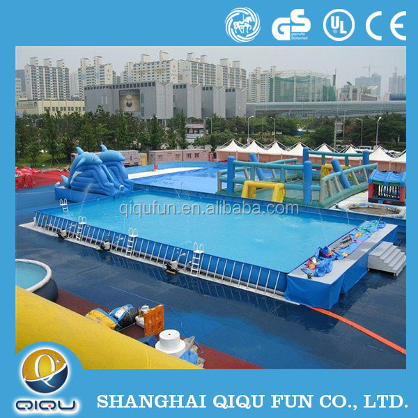 Largest metal frame outdoor inflatable swimming pool Square swimming pools for sale