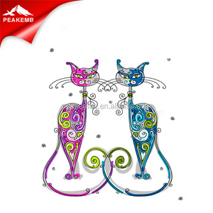 Double Cats Rhinestone Iron On Hot Fix Motif Design For Decoration