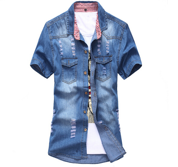 03ebe84e3 Get Quotations · New 2015 Men Denim Shirts Camisa Masculina Male Fashion  Brand Camisas Social Masculinas Spring Short Sleeve