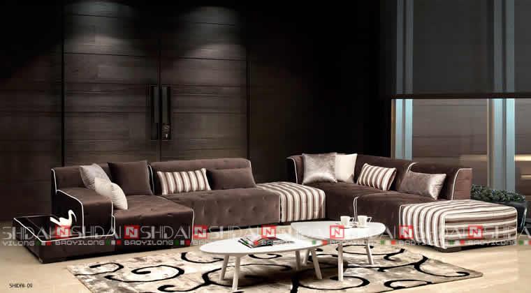 2017 New Style Modern Fabric Wooden Corner Sofa G1116