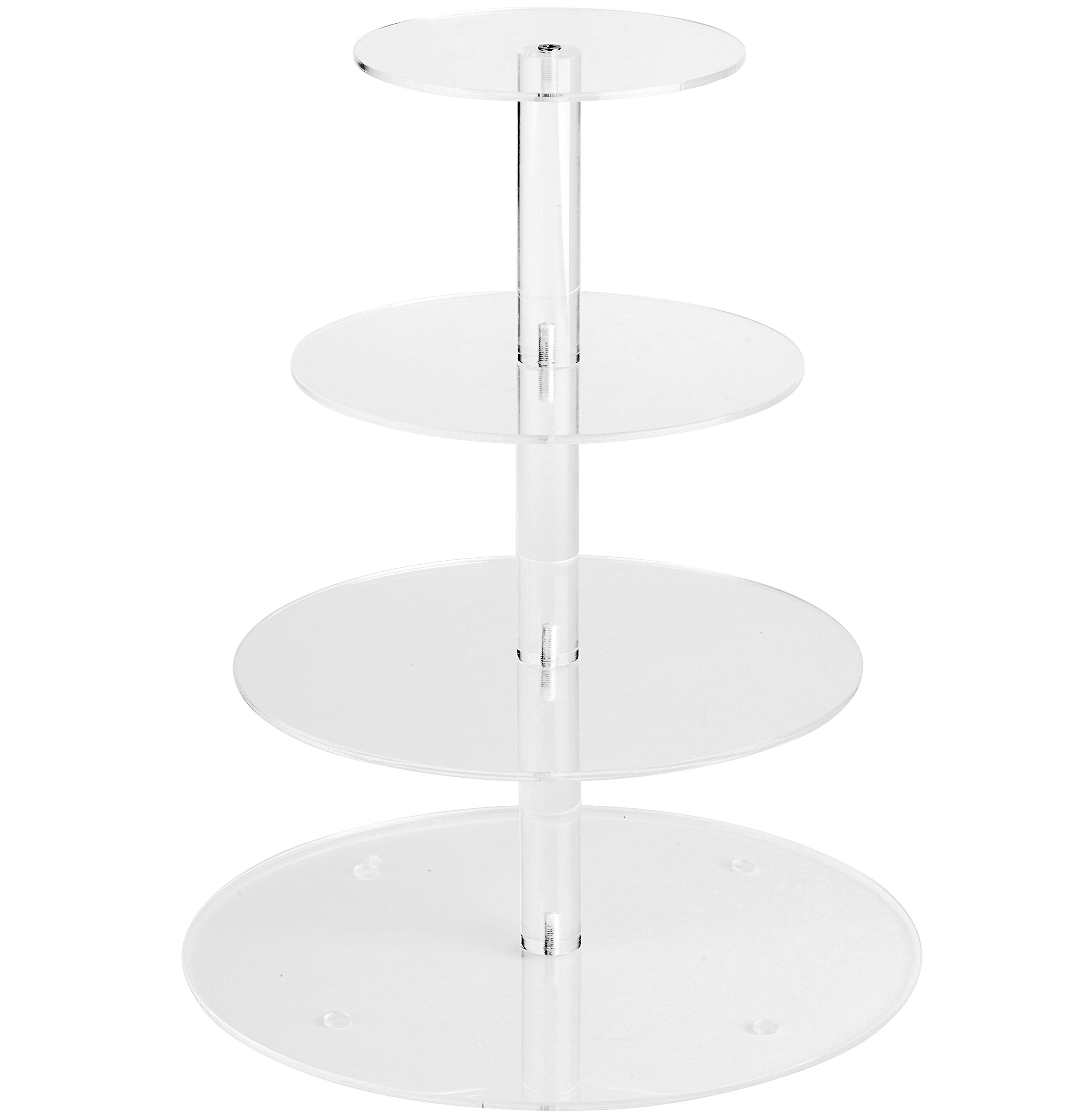 YestBuy 4 Tier Maypole Round Wedding Party Tree Tower Acrylic Cupcake Display Stand (15.1 Inches)
