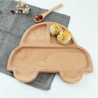 Eco Friendly Wholesaler Wood Kids Dinner Plate With Wooden Spoon For Sale High Quality Japan Style Customizable Wooden Plate Set