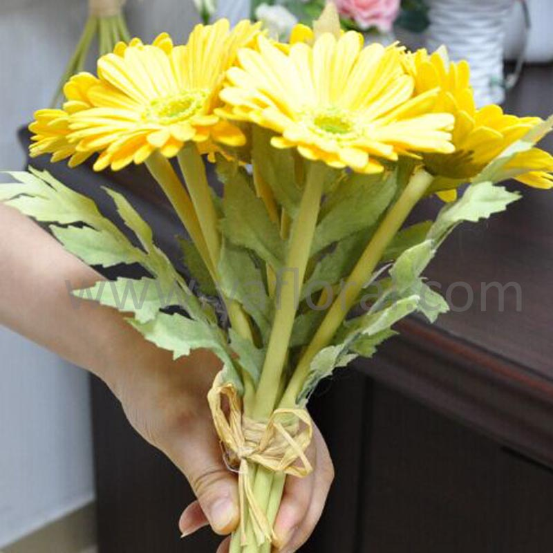 7 heads artificial gerbera wedding bouquet artificial daisy flower silk gerbera daisy flower heads silicone flowers artificial