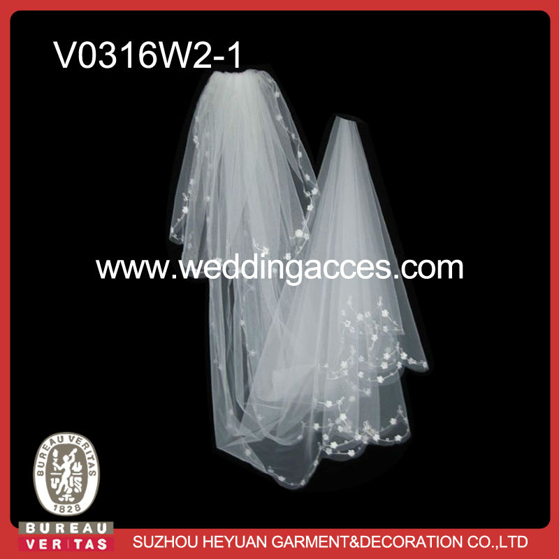 V0316W2-1 Two layer white soft tullle floor length long cathedral long wedding bride veil