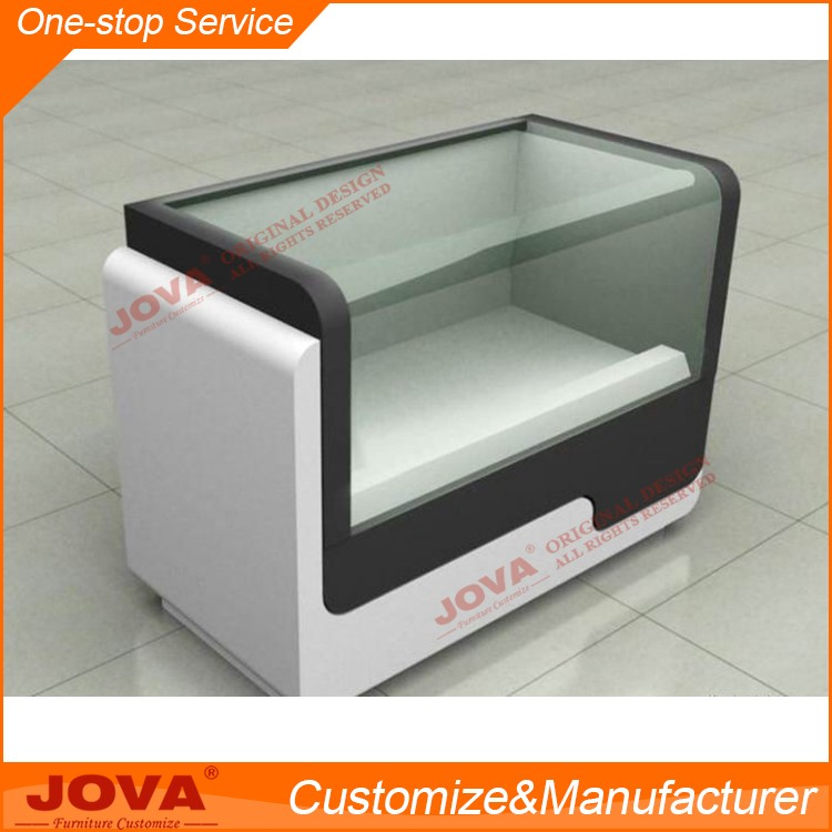 Customized Modern Shop Counter Design, Glass And MDF Shop Counter Table  Design To Display Mobile