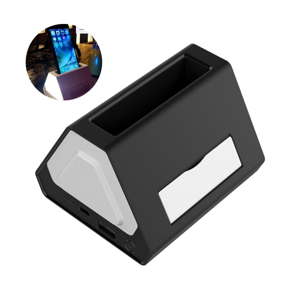 LEDGLE Creative Night Light Compact Desk Lamp Simple Bedside Lamp with Color Changing Function, Multi-purpose Design, Warm White Light, Black