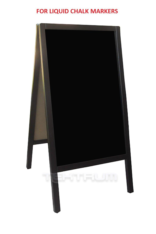 "Tektrum Large Sturdy Advertising Double-Side Sidewalk A-Frame Dark Wood Sandwich Sign Board 20""x40"", Free Standing, Easy Erase Writing Surface, For Shops Pubs Restaurants - Liquid Chalk Use"