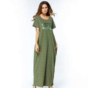 dac19240652 OEM China Supplier 2017 Muslim Women Dress Green Knitting Cotton  Embroidered Long Dress For Casual Wearing