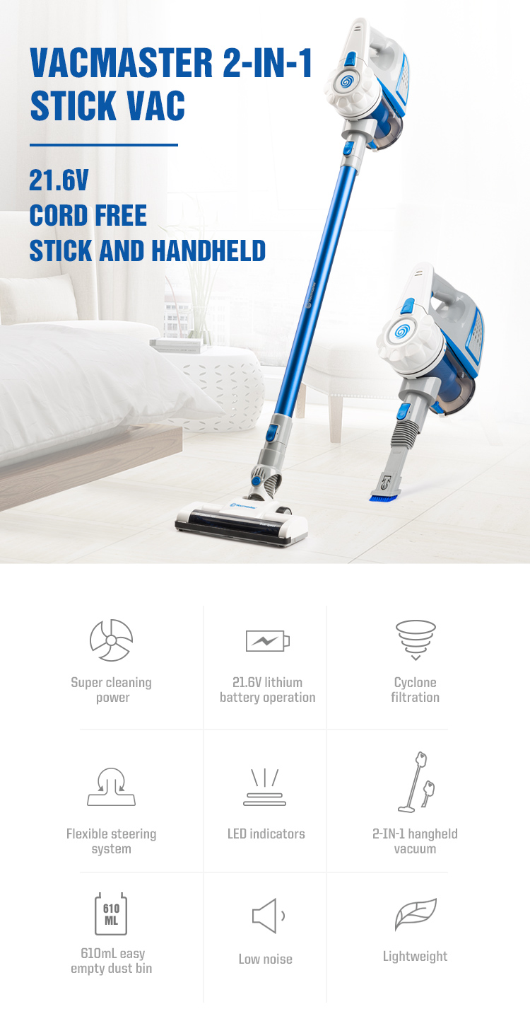 Vacmaster easy home High Power new fashion style 21.6V Cordless 2-in-1 Stick Vacuum Cleaner wireless with handheld -VSG2101